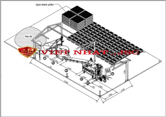 Sơ đồ thiết kế nhà xưởng cho dây chuyền máy ép gạch không nung bán tự động Sivali QT-21